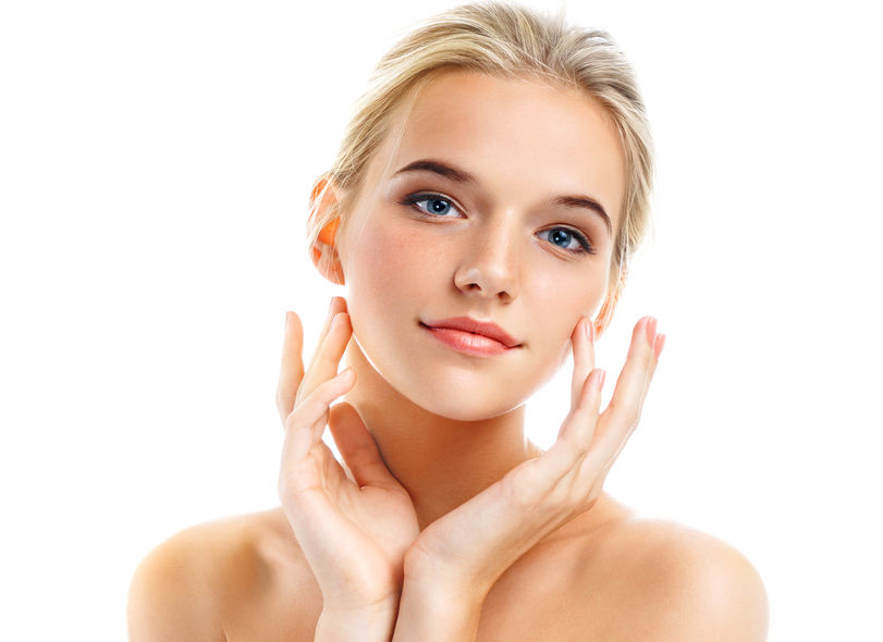Image of womans face after a dermaplaning facial treatment